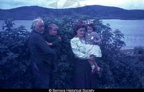 Norman Macdonald 24 Kirkibost with his daughter and grandchildren