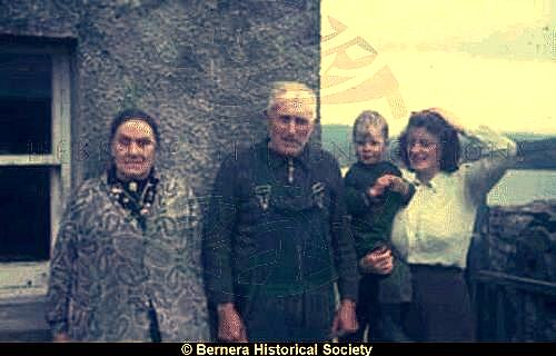 Mr & Mrs Macdonald, 24 Kirkibost, with daughter and grandson