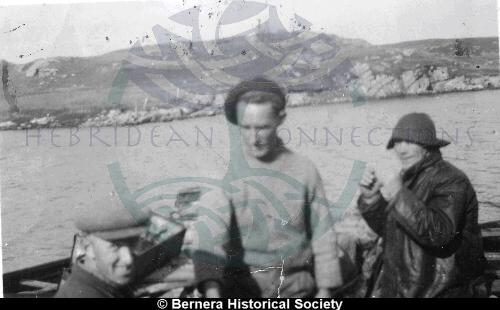 Three Kirkibost men on a boat