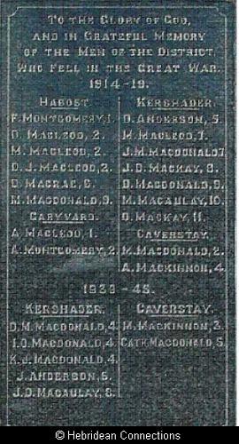 Plate One  Pairc War Memorial