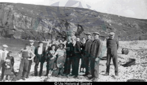 Group of villagers on beach at Aird Uig.